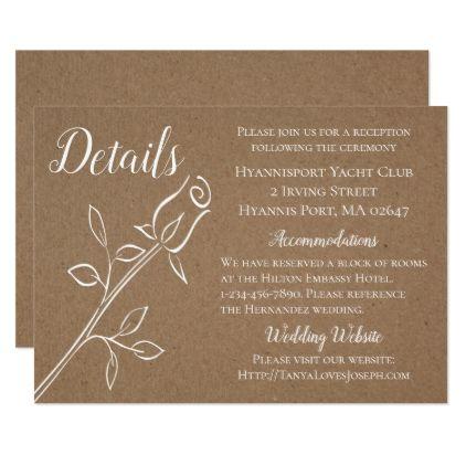Vintage brown kraft wedding details country rose card vintage brown kraft wedding details country rose card wedding invitations cards custom invitation card design stopboris Gallery