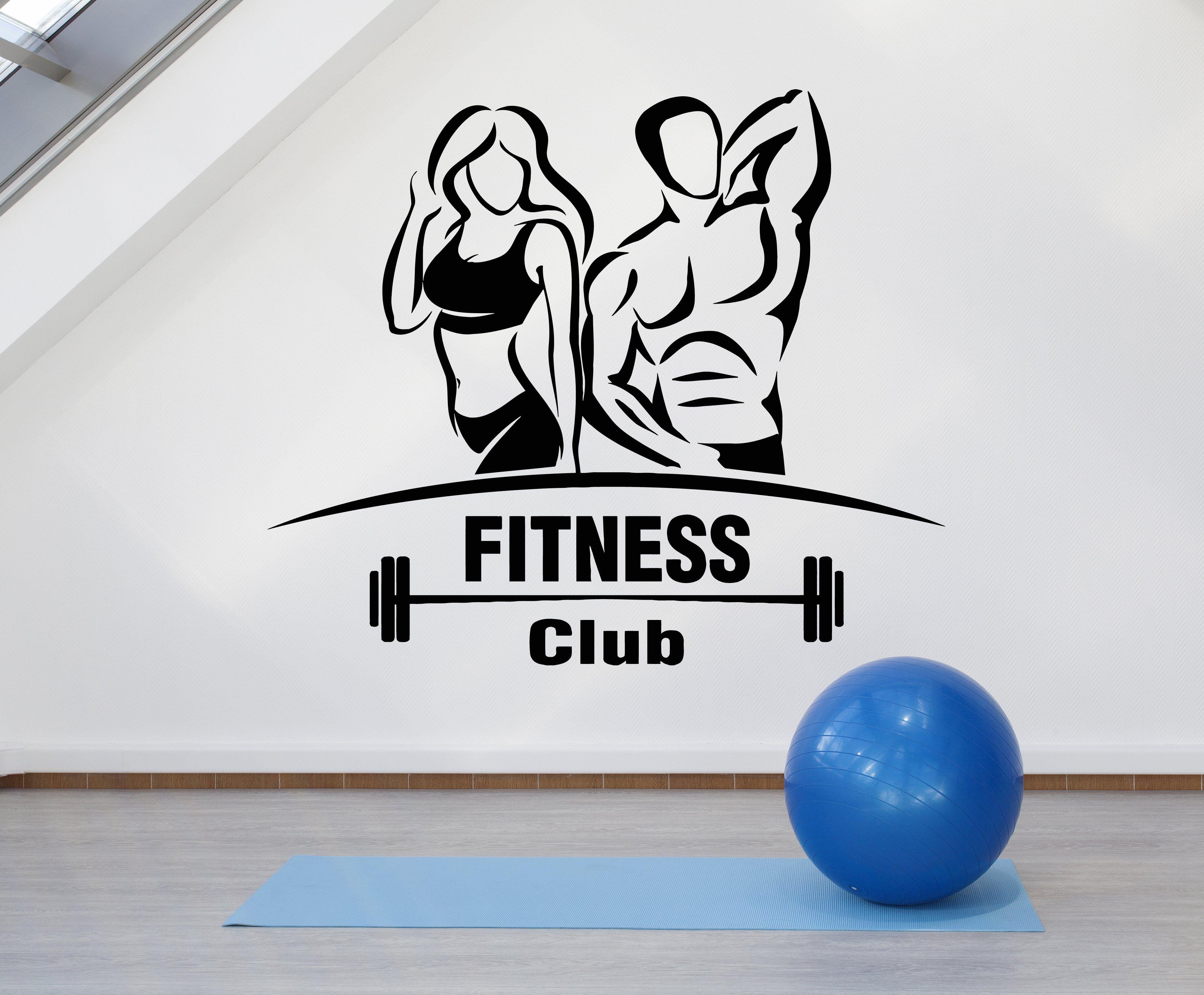 Vinyl wall decal gym fitness club sport signboard