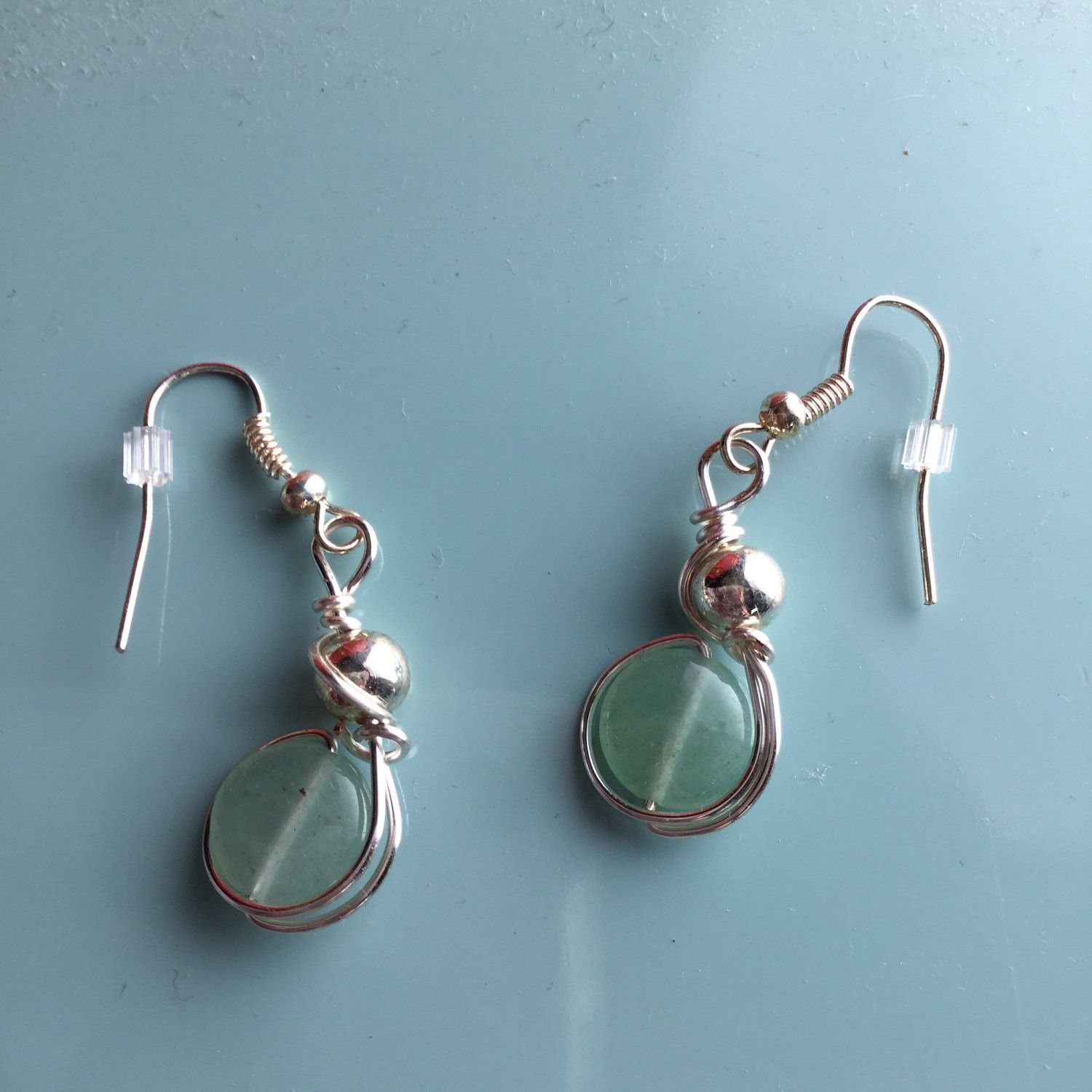 Wire Wrapped Jade and Silver Earrings by Oliver & Django Jewelry ...