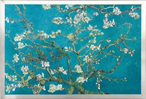 Framed Vincent Van Gogh Turquoise Almond Branches In Bloom San Remy 36x24 Poster In Brushed Nickel Finish Wood Frame Art Print by Generic (hva)