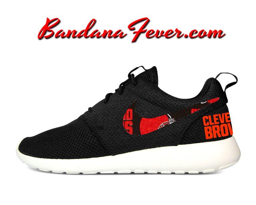 Custom Browns Nike Roshe Run Shoes Black, #cleveland, #browns,by Bandana
