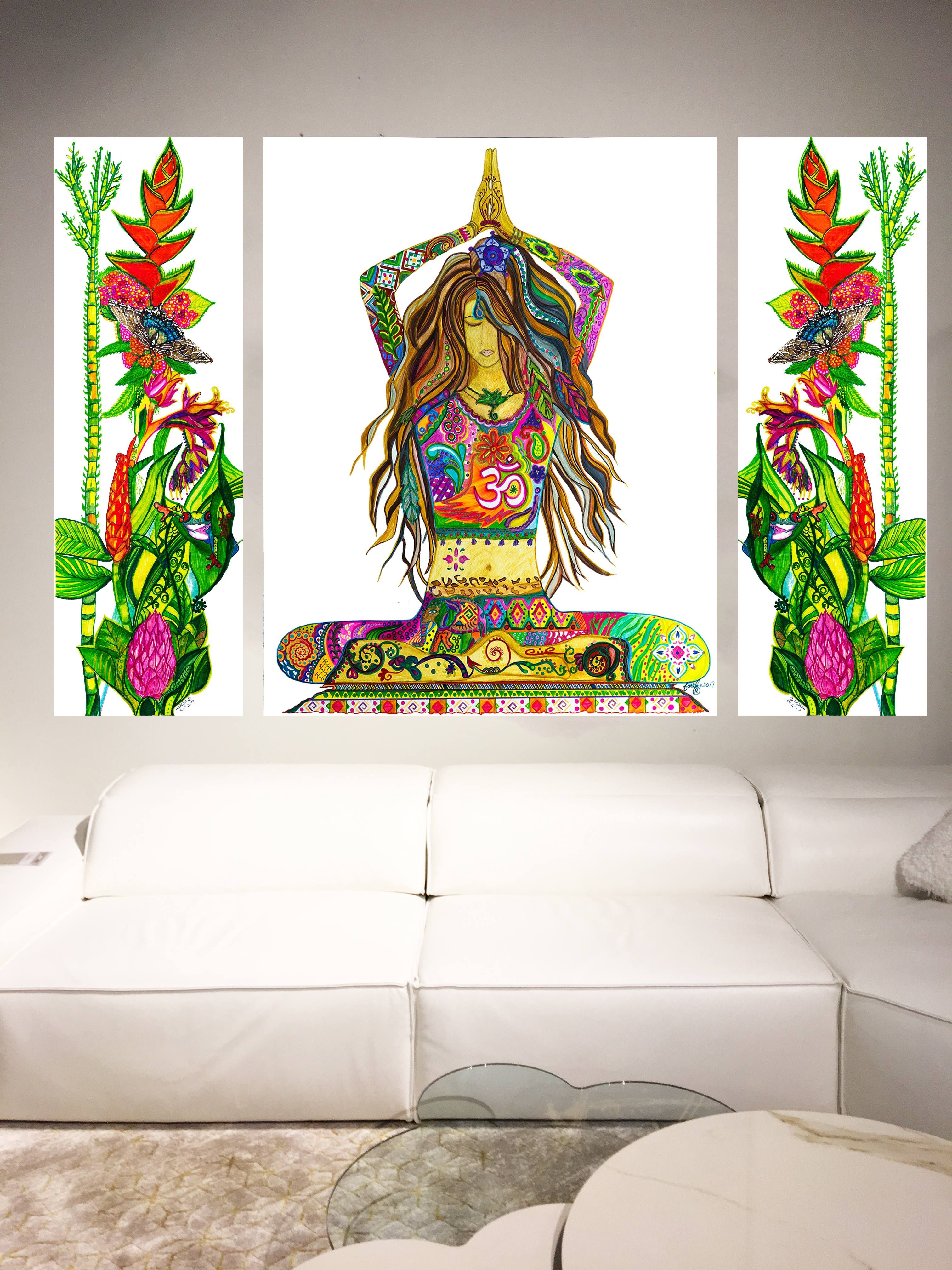 Yoga Pose Painting Gallery Wrapped Canvas Print Bohemian Style Home Decor Namaste Yoga Studio Fine Art Modern Yoga Artwork Abstract Yoga Studio Decor Hand Painted Artwork Meditation Art