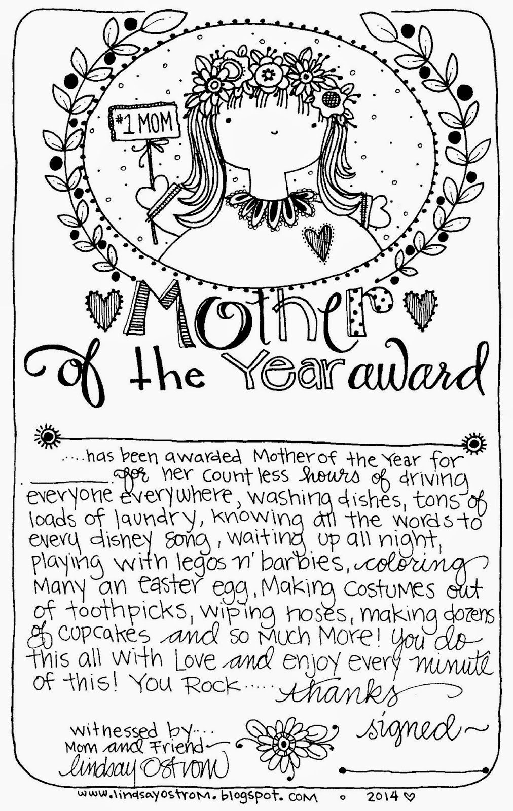 free printable mother of the year award use for a mother 39 s day certificate or anytime to make. Black Bedroom Furniture Sets. Home Design Ideas