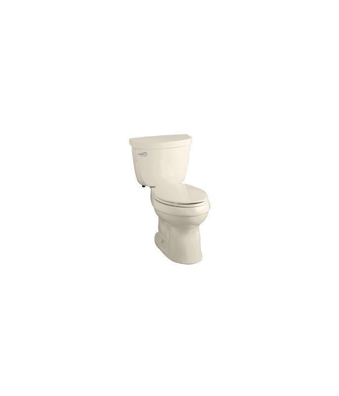 Kohler K-3609 Cimarron 1.28 GPF Two-Piece Elongated Comfort Height Toilet with A Almond Fixture Toilet Two-Piece Elongated