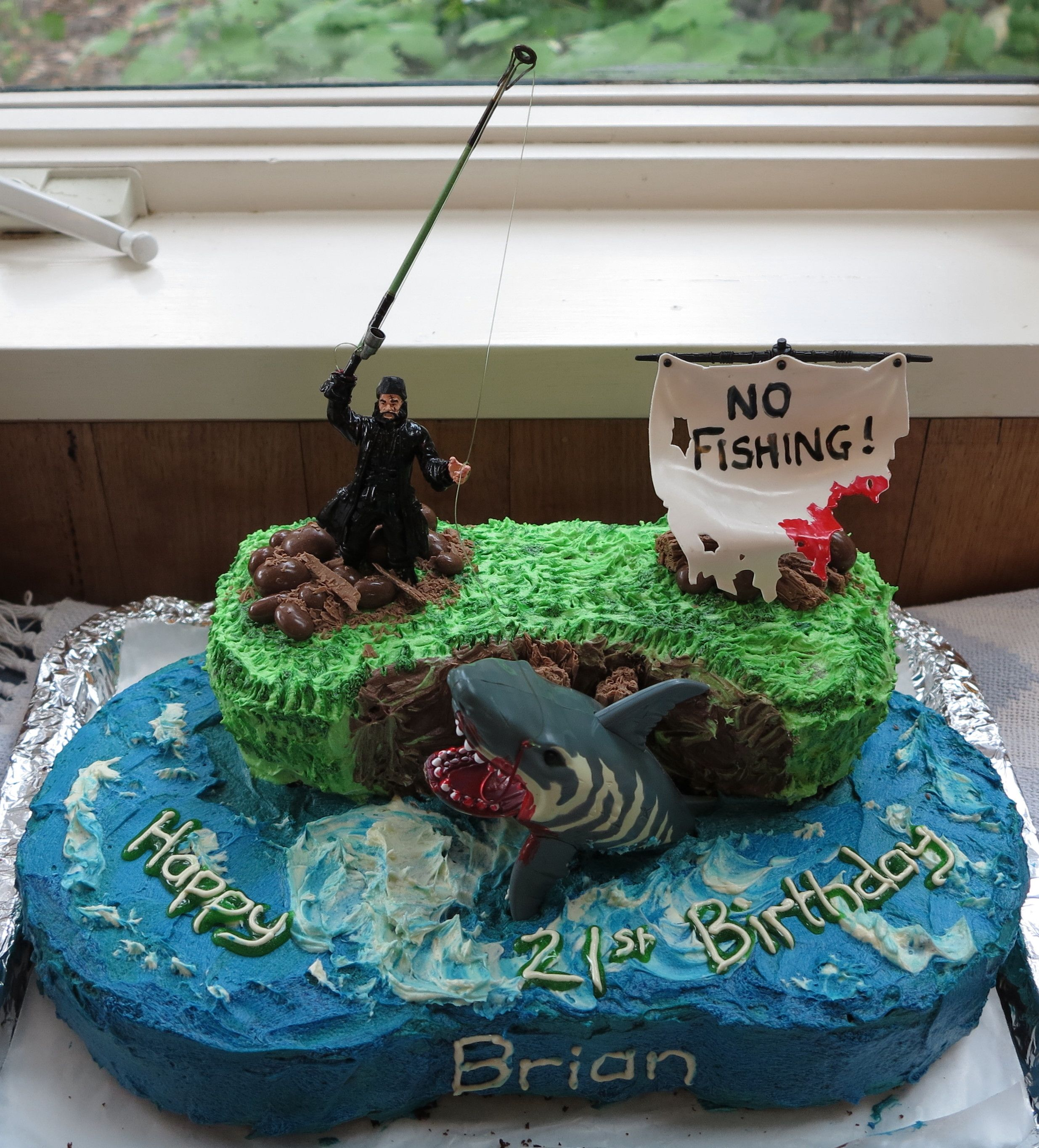 I made this! A fishing themed birthday cake for my son ...