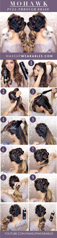 Mohawk pull through braid hairstyle u makeupwearables hair tutorial