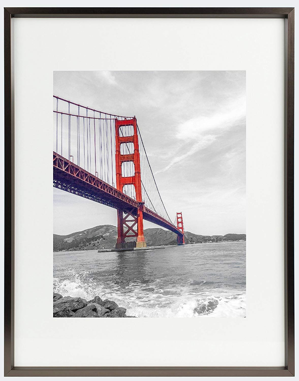 Amazon Com Frametory 11x14 Aluminum Black Photo Frame With Ivory Color Mat For 8x10 Picture Real Metal Picture Frames Black Photo Frames Gold Photo Frames