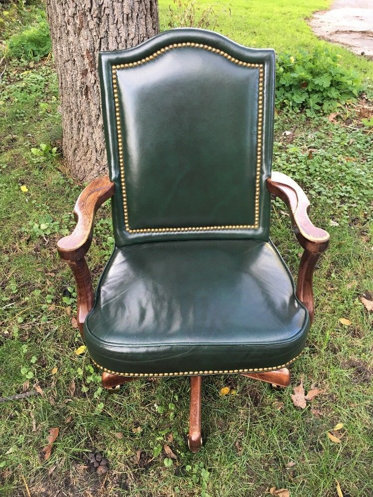Green leather executive rolling office chair wood arms by