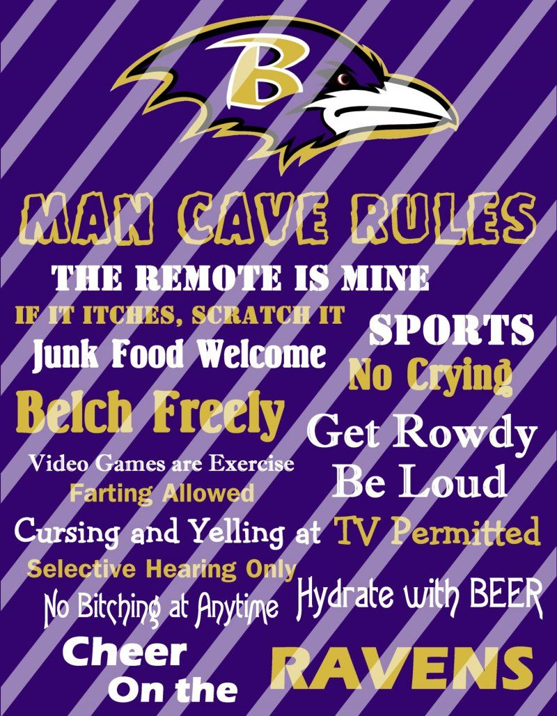 Baltimore Ravens Man Cave Rules Wall Decor Sign Digital Or Photo