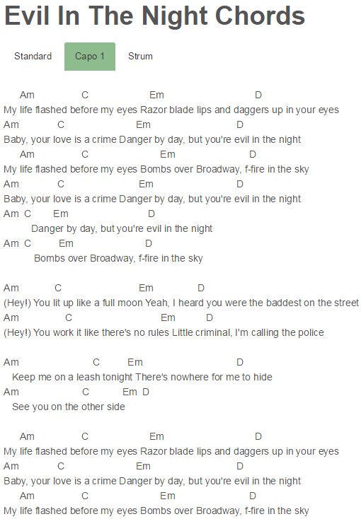 Evil In The Night Chords Adam Lambert | Adam Lambert | Pinterest ...