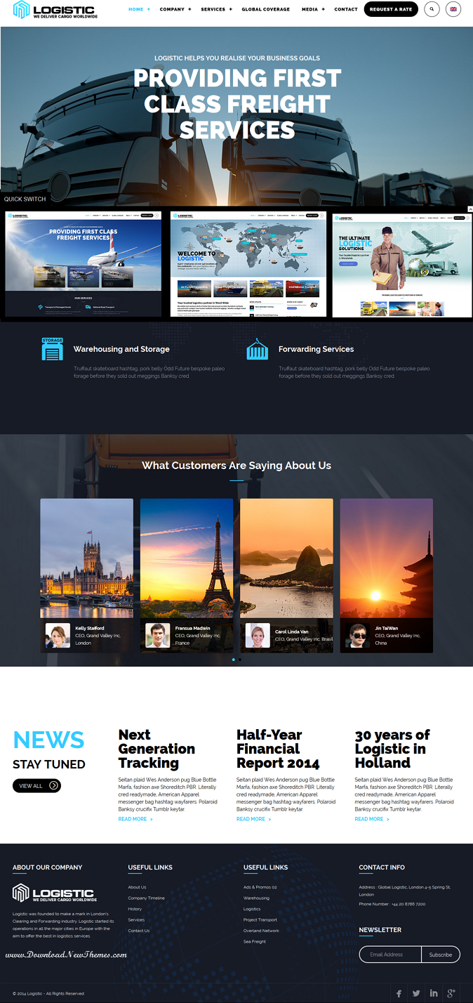 logistic wordpress theme for transportation business website design