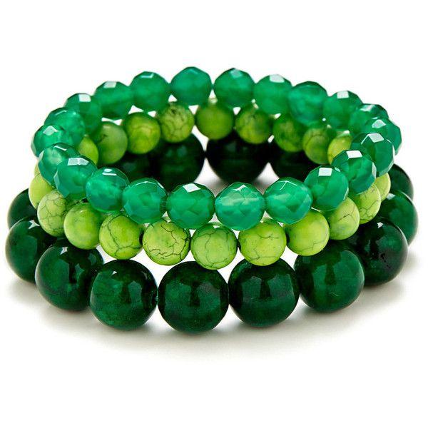 Green Goddess Bracelet Stack ($80) ❤ liked on Polyvore
