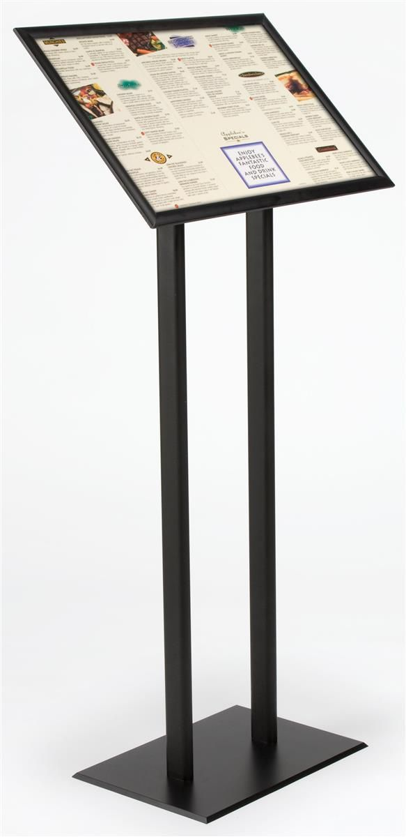 Wooden Double Post Menu Holder To Display Pictures On Table During - Standing table for restaurant