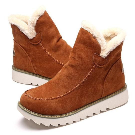 fa8cfcc64af Pure Color Warm Fur Lining Winter Ankle Snow Boots For Women
