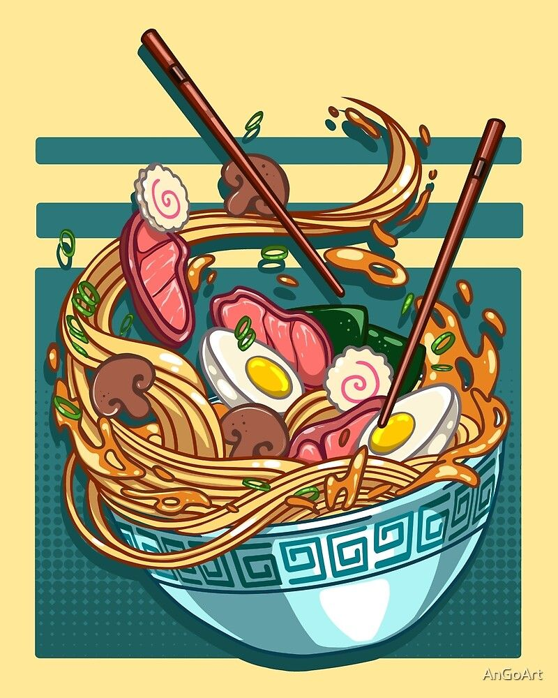 The delicious falling Japanese ramen bowl Sticker