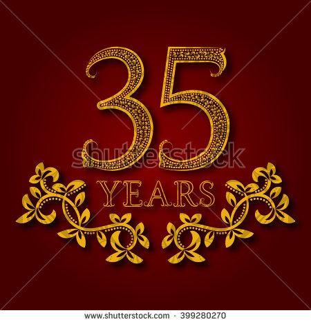 Thirty Five Years Anniversary Celebration Patterned Logotype