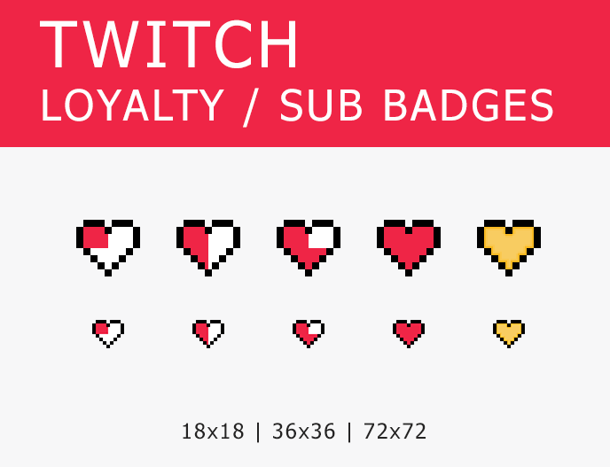 Twitch Sub Badges 8 Bit Hearts Etsy Twitch Twitch Channel Badge