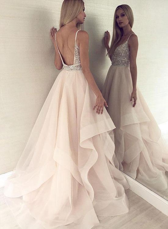 Champagne V Neck Tulle Beaded Long Prom Dress Hot Evening Dress G2950 – Prom