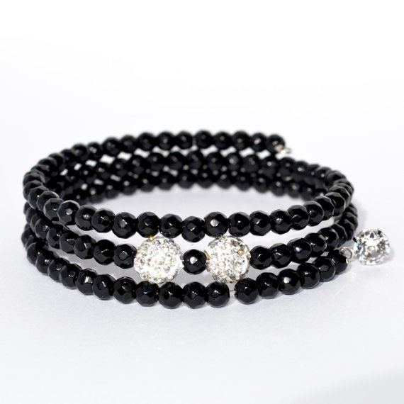 Black And Crystal Bead Wrap Bracelet Swarovski Crystal Charm Memory Wire Bead Brace Swarovski Crystal Charm Beaded Bracelets