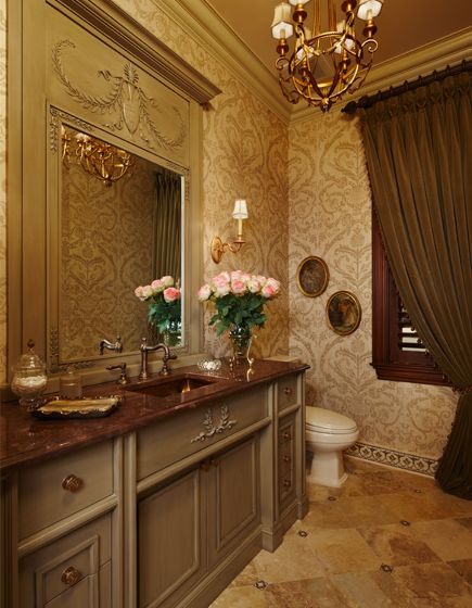 this elegant powder room vanity was designed to coordinate with the antique mirror selected - Powder Room Vanities