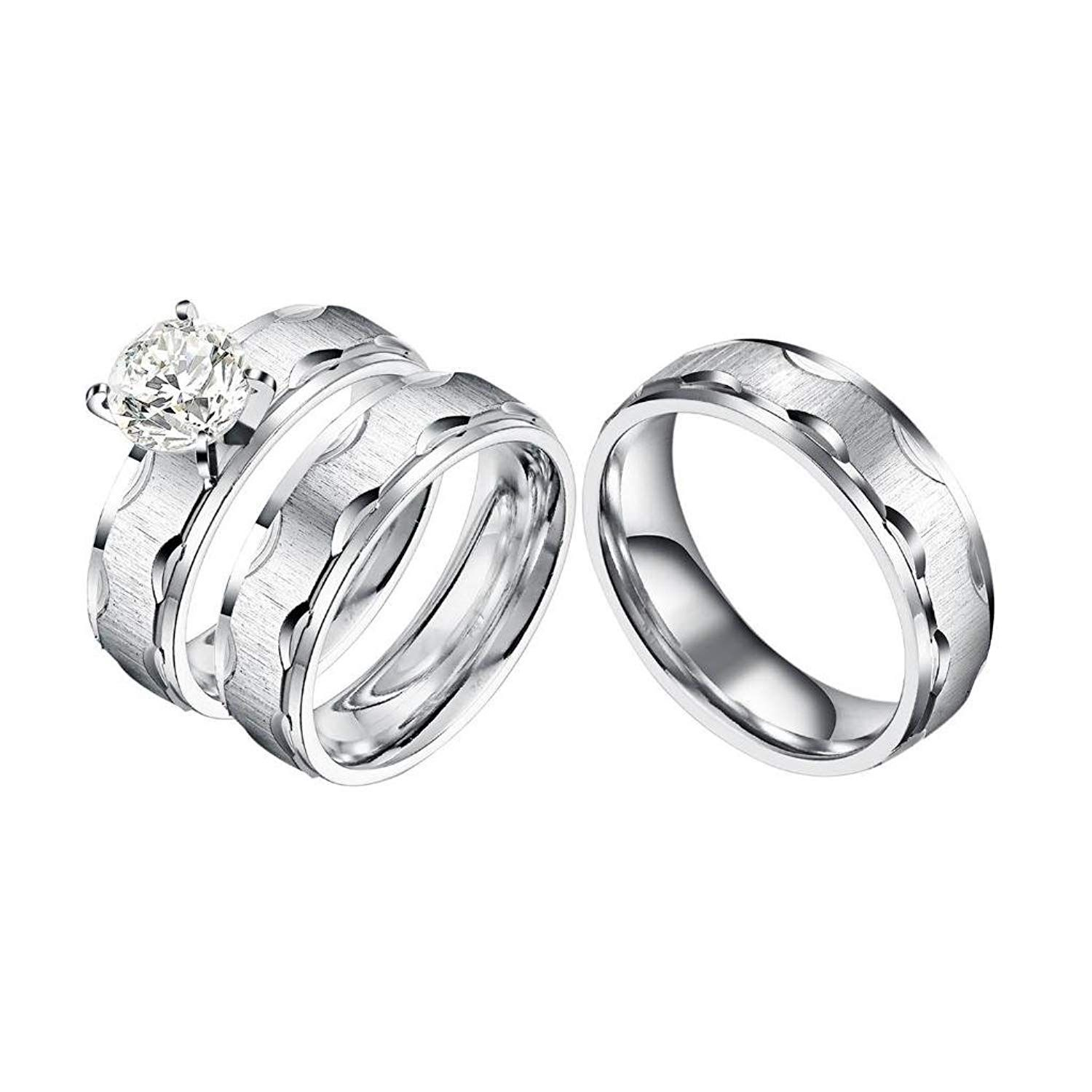 Castillna 3 Piece His And Hers Wedding Set Brushed Stainless