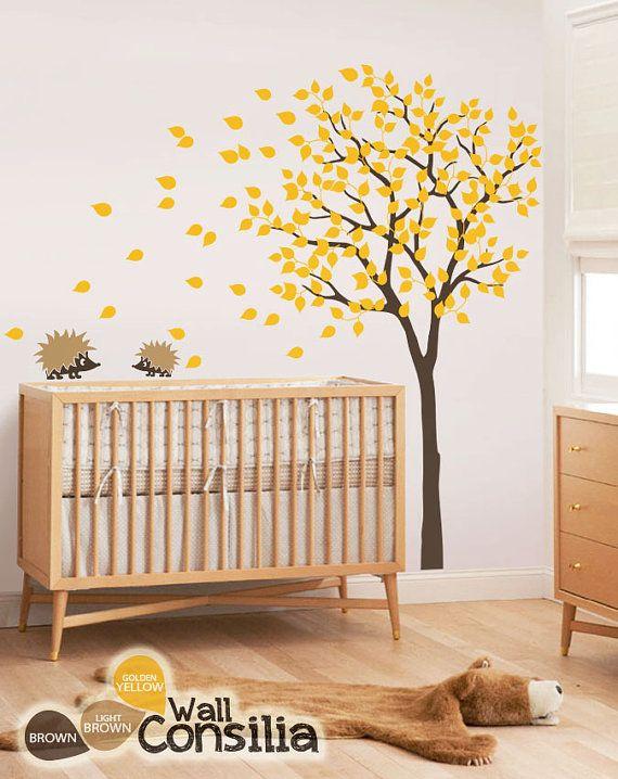 baby nursery wall decals - tree wall decal - tree decal - hedgehog