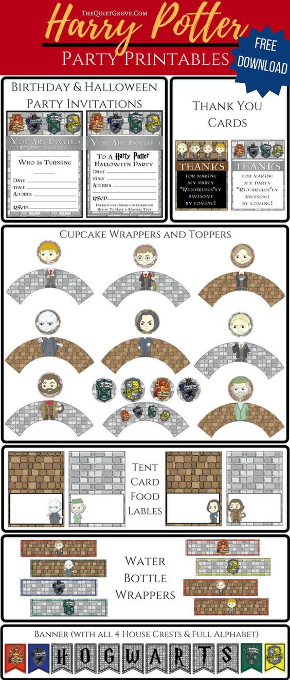 FREE Harry Potter Party Printables | Harry potter, Harry potter ...