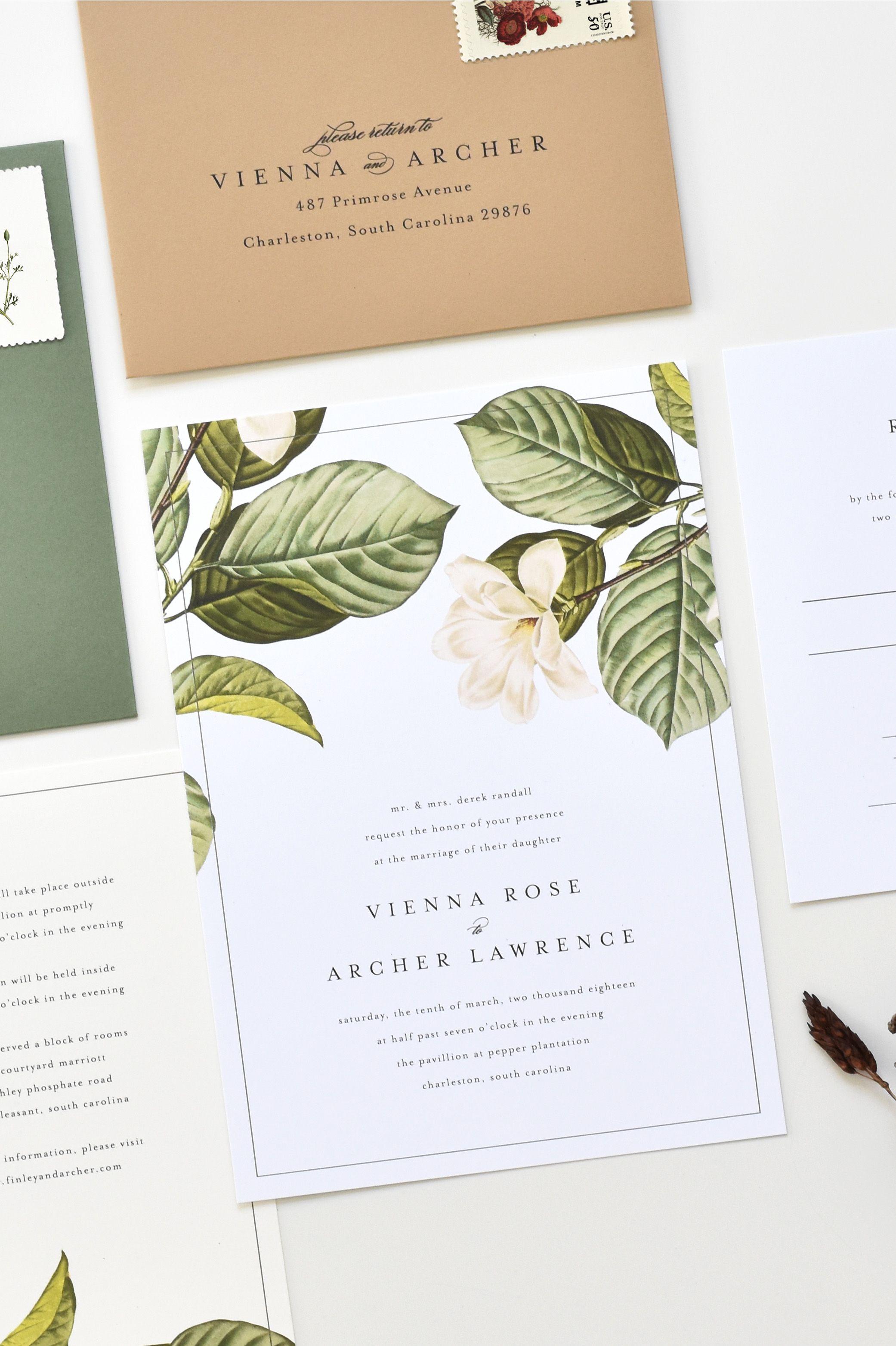Magnolia Wedding Invitation Magnolia Leaves Wedding Etsy Magnolia Wedding Invitations Magnolia Wedding Wedding Invitations