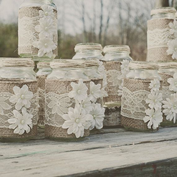 Burlap And Lace Mason White Flowers Jars Diy With Pearls Wedding Crafts Homemade