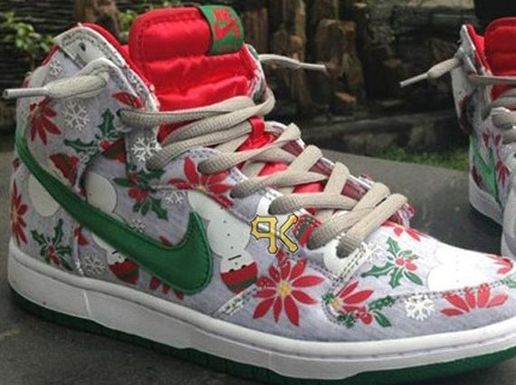cncpts nike sb dunk high ugly christmas sweater sample Concepts x Nike SB  Dunk High Ugly