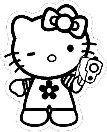 Hello Kitty Pistol Sticker - 5.5\