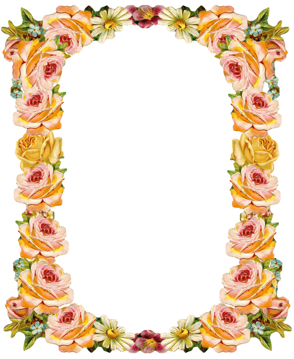 Free digital vintage flower frame: peach colored - Blumenrahmen ...