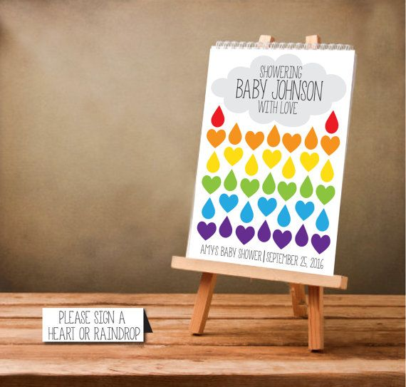 DIY Printable Rainbow Baby Shower Guest Sign In Poster, Guest Book  Alternative, Raindrop, DOWNLOAD