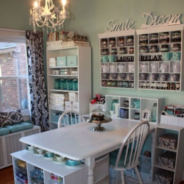 I will have this craft room! Love the Tiffany Blue with black and ...