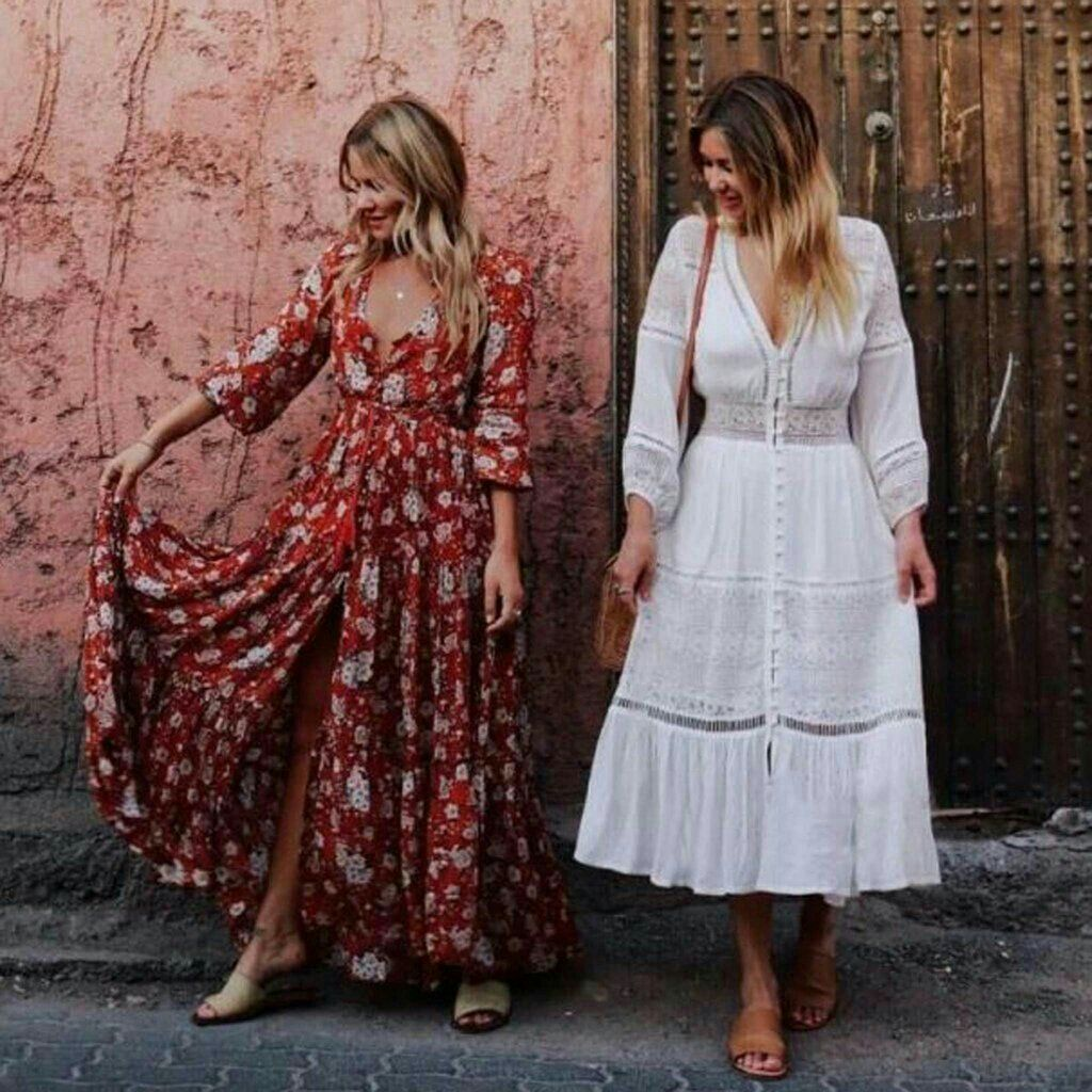 Boho Dresses - White Bohemian Dress & Floral Print Maxi Dress