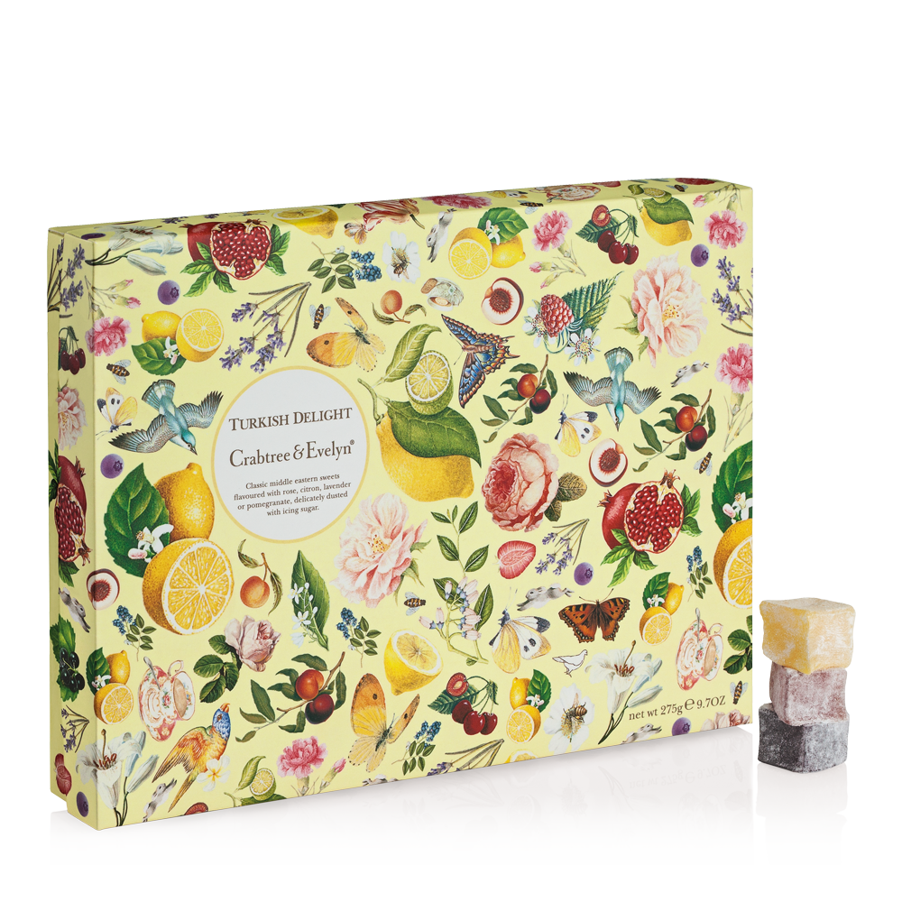 <p>Our Turkish Delight is made using time-honoured methods and recipes with over 500 years of history. These classic Middle Eastern sweets are infused with a traditional Crabtree & Evelyn flavour, which make the perfect treat. Subtle flavours of rose petals, citron, lavender and pomegranate presented in a distinctive box.</p>  <ul> <li>Gluten free</li> <li>Suitable for vegetarians and vegans</li>          </ul>