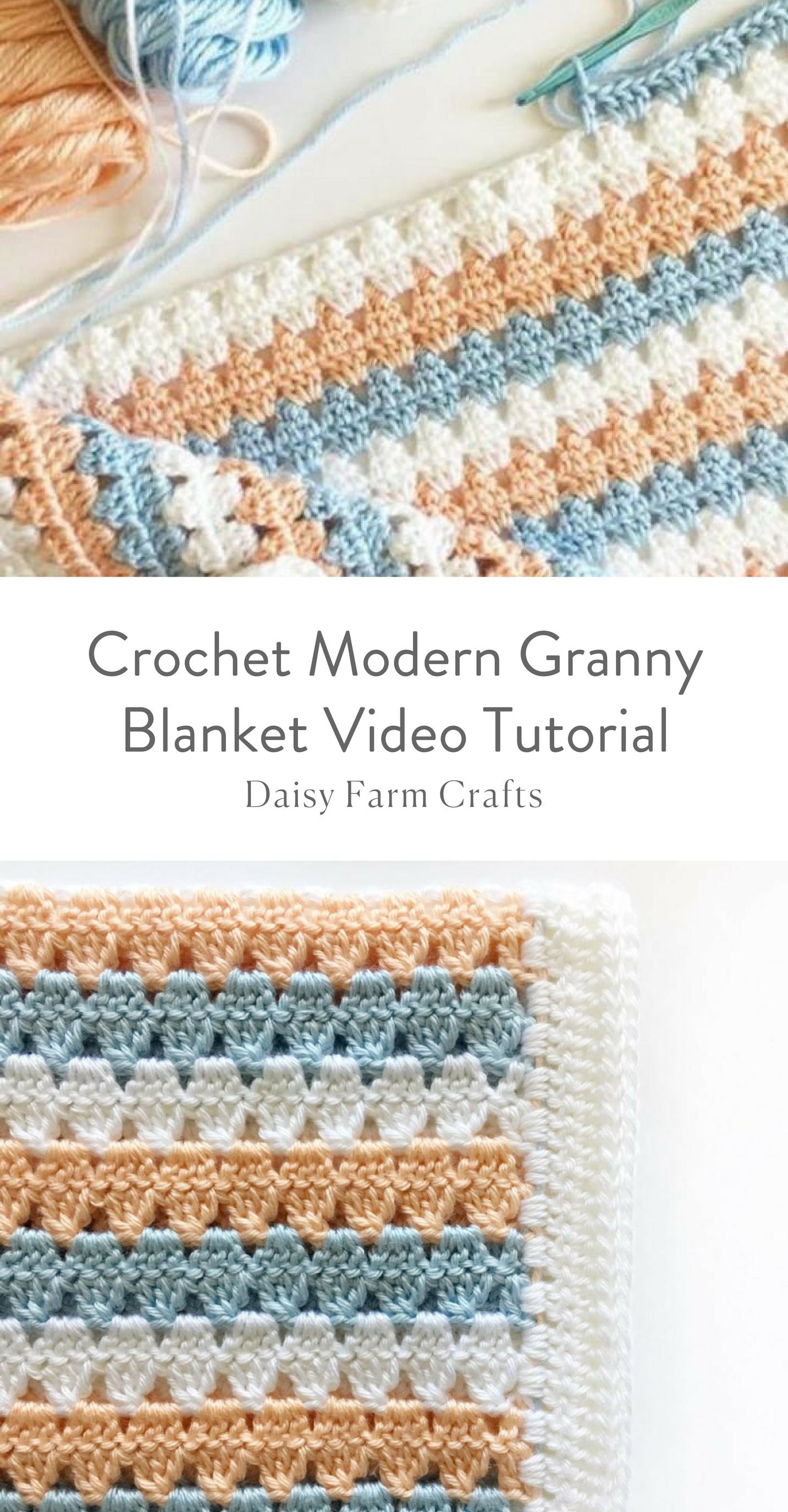 Crochet Modern Granny Blanket Video Tutorial | Crochet blankets ...