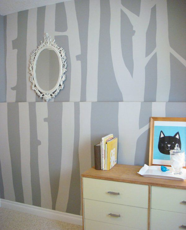 Zimmer Wand Streichen Graue Farbschemen Rundes Spiegel