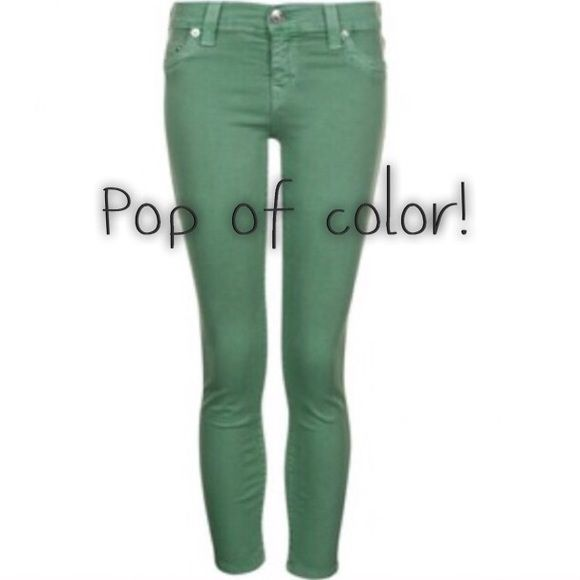 Forrest green skinny jeans!  Colored jeans are back in! These green beauties will make you feel fresh and down to earth in any outfit. Green really is the new black! The color of these jeans run truer to the cover photo than to the other poorly-lit photos. Low rise, skinny cut, true size 2 or 3. Comments and offers welcomed!!  Mossimo Supply Co. Jeans Skinny