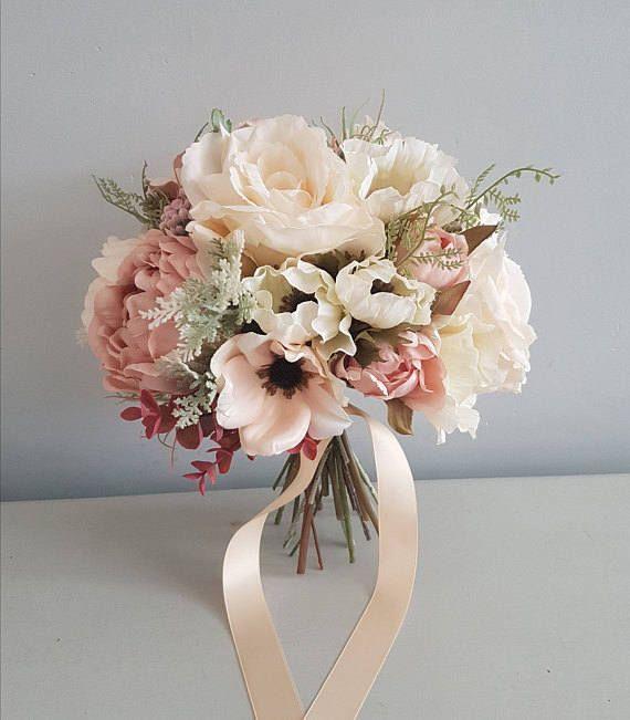 Abigail Artificial Rustic Blush Wedding Flower Bouquet-Silk Flower Bridal Bouquet-Rustic Blush Bouquet-Artificial Floral Bridesmaids Bouquet