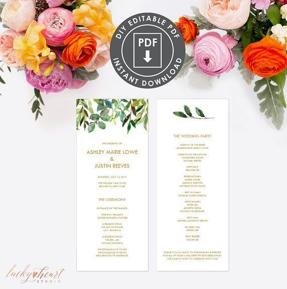 PRINTABLE WEDDING PROGRAM Instant Download Wedding Program - printable program templates
