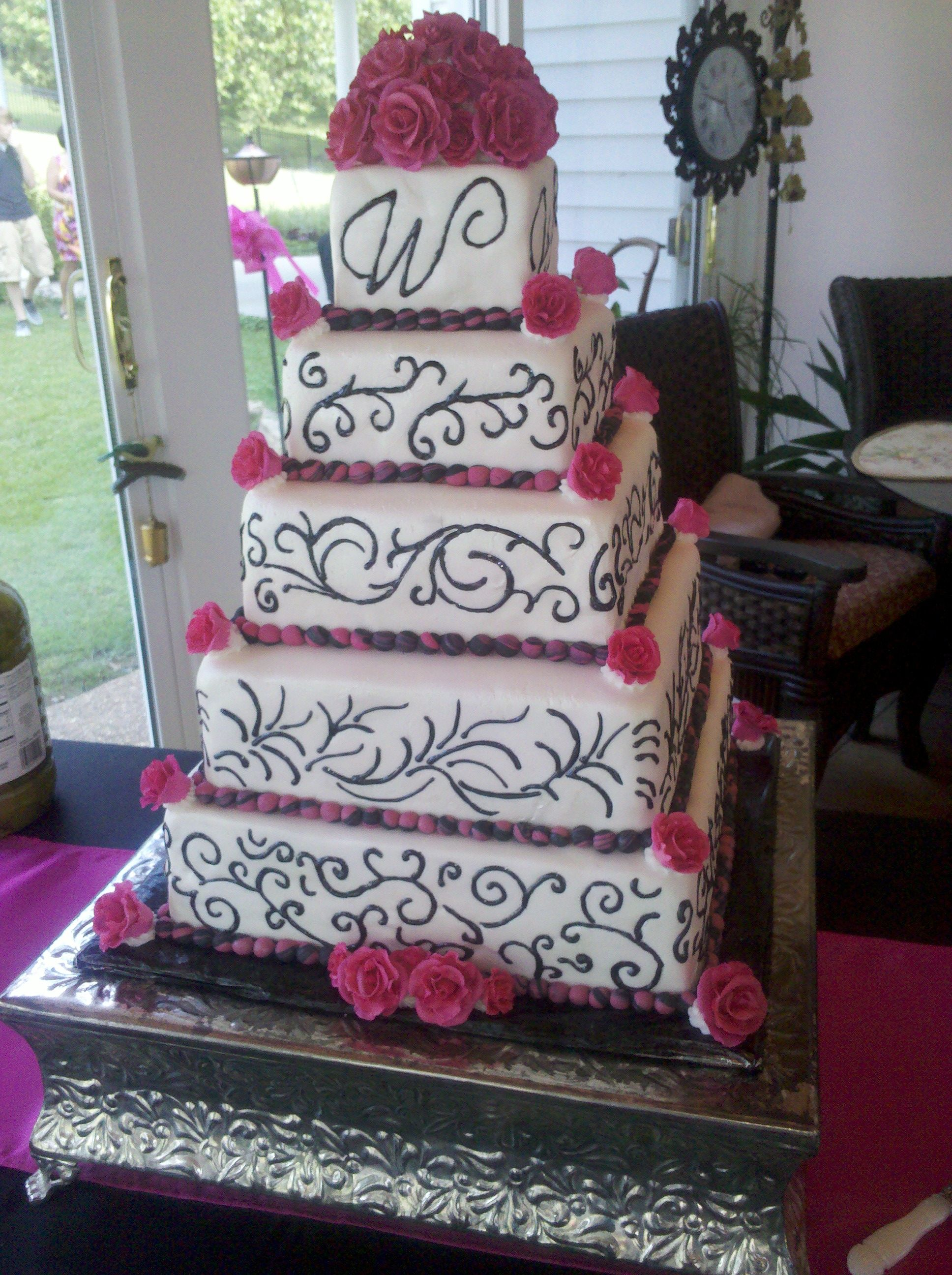 square black and white wedding cakes pictures%0A I like the different designs on each layer of the cake  Wedding Cake SquareFuschia  WeddingBlack