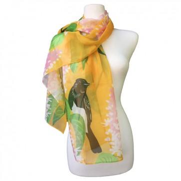 Large orange /& yellow modern designer chiffon scarf  UK made