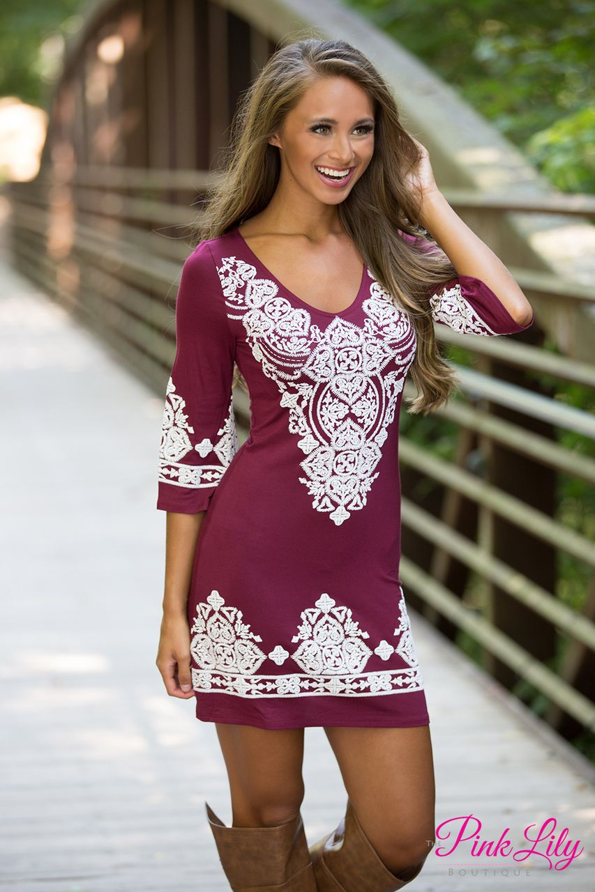 lasting impression dress maroon - the pink lily | cowgirl