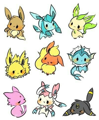 Cute Eeveelutions | Cute pokemon wallpaper, Pokemon drawings