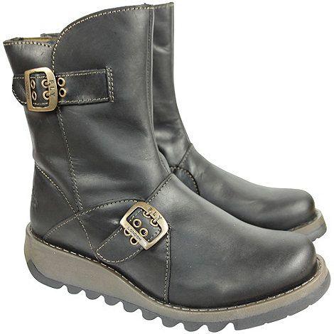 Fly London Black leather seti ankle