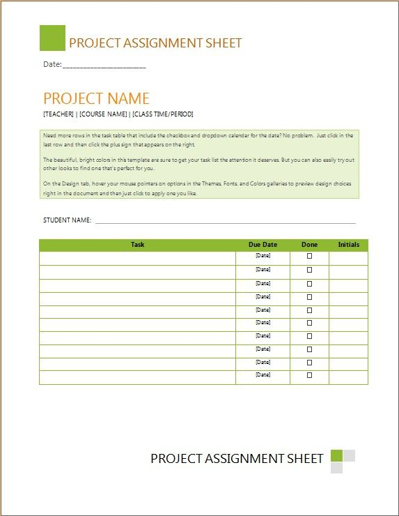 Task Assignment Sheet USL Format Template for Adobe inDesign
