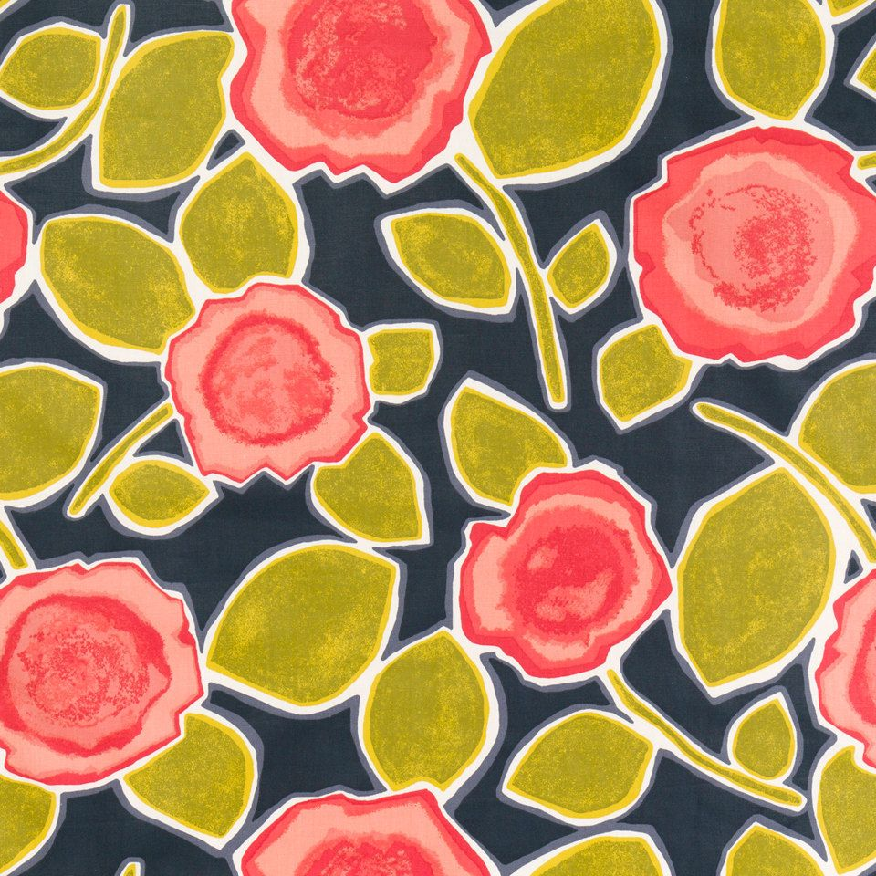 Red Floral Fabric - Abstract Yellow Grey Upholstery Fabric ...