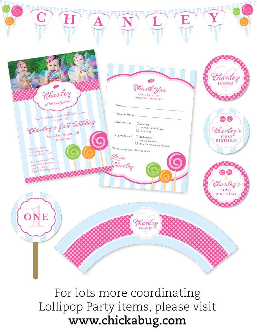 Lollipop party - Set of 15 custom thank you cards - Printable file ...