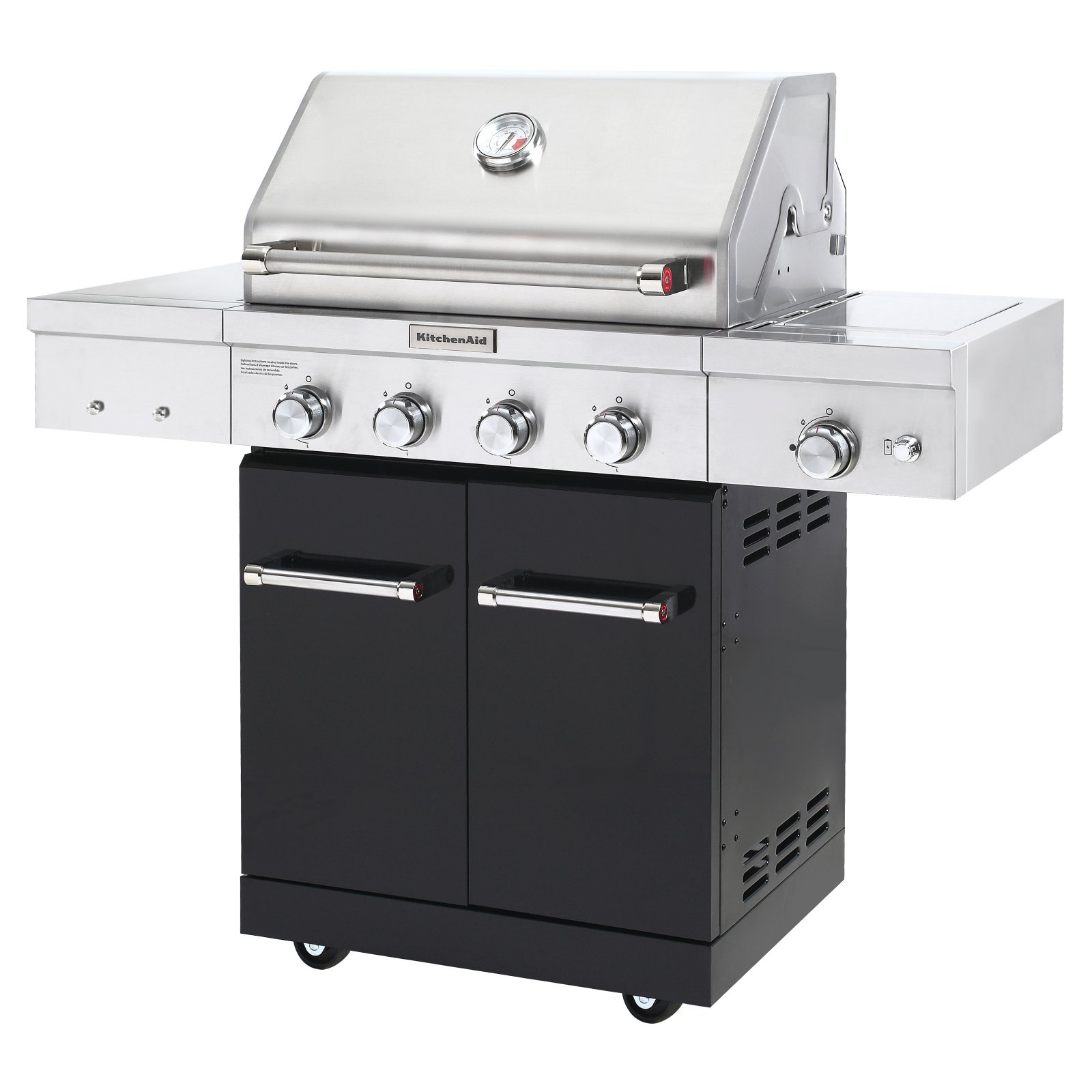 Kitchenaid 4 Burner Propane Gas Grill In Black With Searing Side